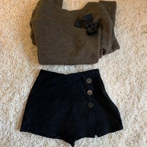 Zara faux suede contrasting black shorts xs US 0